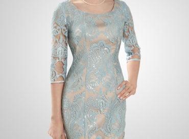 Платье с нежным рисунком из пайеток