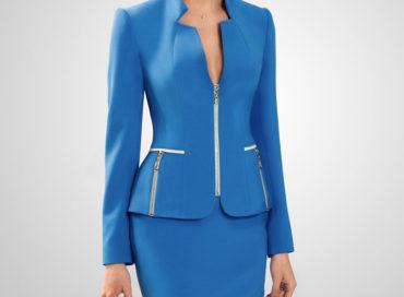 Синий костюм с юбкой